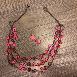 Jewelry - 3-strand beaded necklace with matching earrings